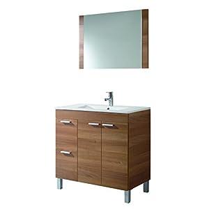ARKITMOBEL 305450N- Mueble de baño Aktiva con 2 Puertas y Espejo, modulo Lavabo Color Nogal, Medidas: 80 x 80 x 45 cm de…