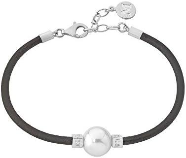 Majorica - Cuero pulsera de 22 cm de largo, 12 mm redondo blanco perla
