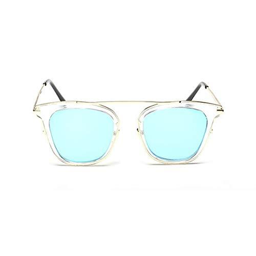 Yiph-Sunglass Sonnenbrillen Mode Blumenrahmen Farbige Linse Katzenaugen UV-Schutz Sonnenbrille Fahren im Freien für Frauen Männer (Farbe : Blau)