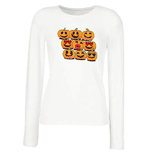 lepni.me Weibliche Langen Ärmeln T-Shirt Kürbis Emoji Lustiges Halloween-Party-Kostüm (XX-Large Weiß Mehrfarben)