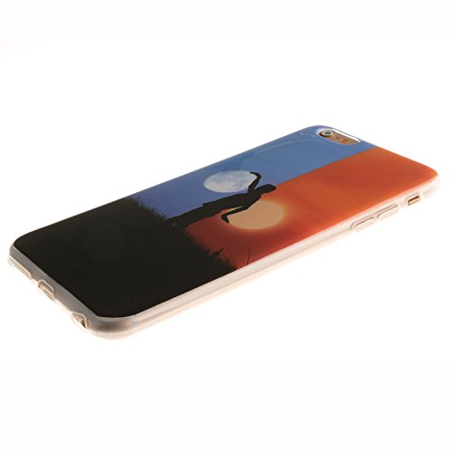 Coque Housse pour iPhone 6 Plus / 6S Plus (5,5 Zoll), iPhone 6 Plus / 6S Plus (5,5 Zoll) Coque Silicone Etui Housse, iPhone 6 Plus / 6S Plus (5,5 Zoll) Souple Coque Etui en Silicone, iPhone 6 Plus / 6 Soleil et lune