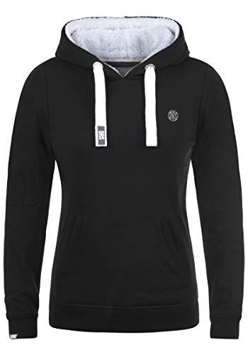 DESIRES Damen Bennja Pile Kapuzenpullover Hoodie Pullover Mit Kapuze Und Teddy-Fell, Größe:L, Farbe:Black PIL (P9000)