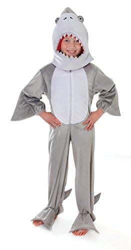 Disfraz de tiburón de felpa con cabeza para niños de entre 5 y 7 años, talla medium de 128 cm de Bristol Novelty CC052