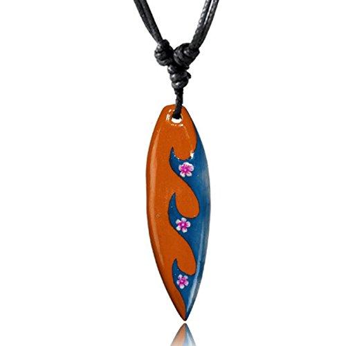 CHICNET® Surferkette orange blau Wellen Blumen Holzkette Sonoholz Unisex verstellbar