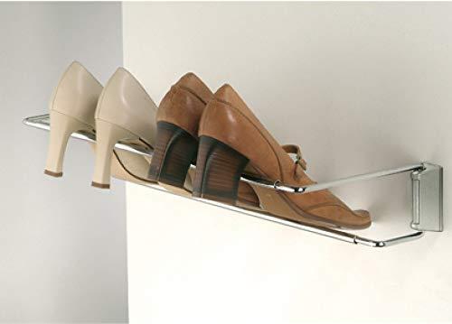 Gedotec Wand-Schuhregal Schuhablage Schuhhalter Breite einstellbar 460-750 mm | Stahl verchromt | Regal für die Wandmontage | 1 Stück