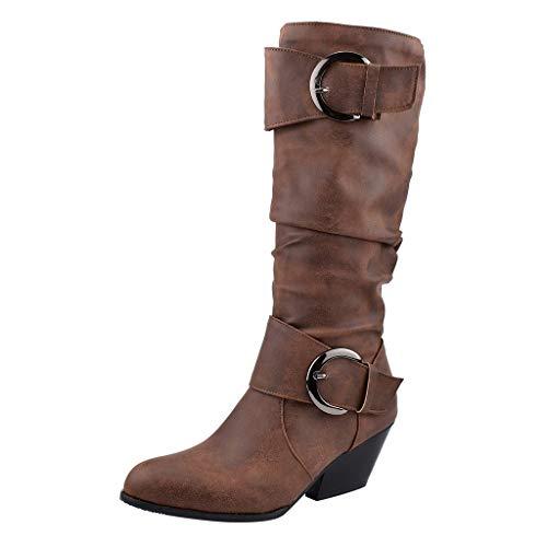 Stivaletti Donna, MEIbax Nuovo Prodotto Risparmia 90% Testa Tonda da Donna con Stivali Medi Inverno Scarpe Moda Alto Stivali