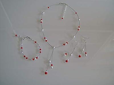 Parure bijoux Femme Mariée Mariage Rouge/Blanc (dispo Ivoire) Collier bracelet boucles d'oreille Soirée Cérémonie Coktail robe perles (pas cher, petit prix)