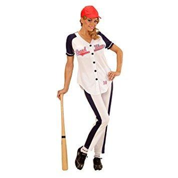 Baseball Halloween Mädchen Für Kostüm (Widmann 73373 - Erwachsenenkostüm Baseball Mädchen, Shirt, Hose und Hut, weiß, Größe)