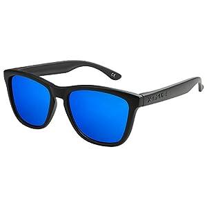 X-CRUZE® 9-005 Gafas de sol Nerd polarizadas estilo Retro Vintage Unisex Caballero Dama Hombre Mujer Gafas - negro mate/azul tipo espejo