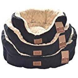 Lujo Faux Suede perro camas–75cm, negro y crema