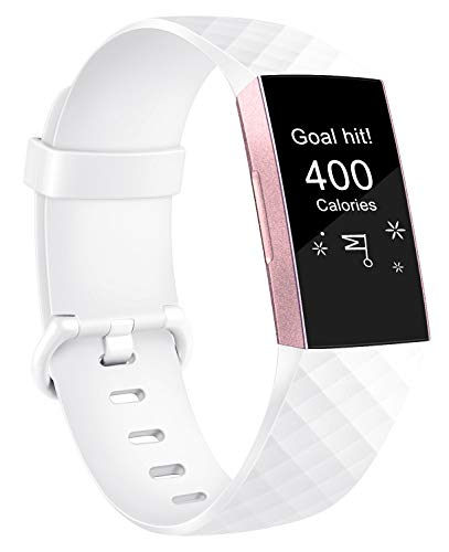 AK Armband Kompatible Für Fitbit Charge 3, Klassisch Sport Verstellbares Ersatz Armbänder für Fitbit Charge 3 (Weiß, S)