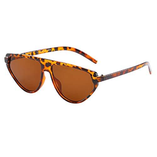EUCoo Mode Sonnenbrillen Strahlenschutz Vintage Big Cat Eye Sonnenbrillen Flut PersöNlichkeit Brille(Braun)