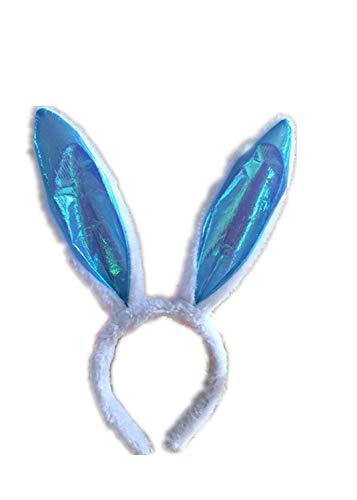 Aoweika Oster Hasenohren - Haarreif (Kopfband) in Flauschig - Pink für Osterferien - Stirnbänder Deko Accessories für Erwacahsene Kinder (Y)