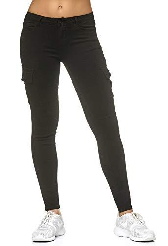 ArizonaShopping - Hosen Damen Treggings Cargo Stretch Skinny Jeans Hose Denim Röhrenjeans, Farben:Schwarz, Größe Damen:38 / M - Reißverschluss An Der Seite-stretch-hose