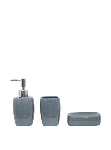 3 piece ceramic bathroom accessory set tumbler soap dish soap dispenser grey