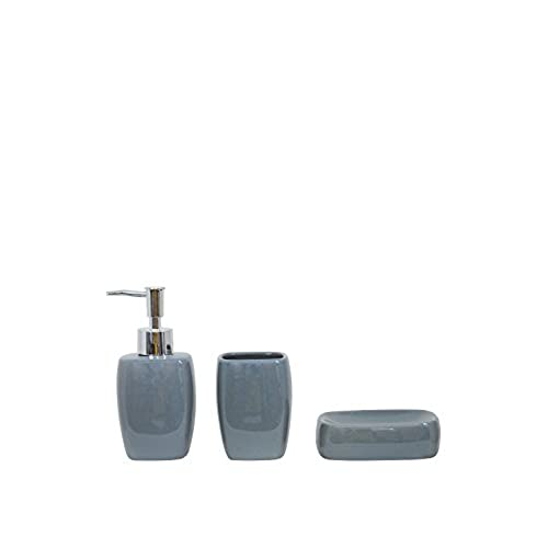 3 Piece Ceramic Bathroom Accessory Set Tumbler, Soap Dish, Soap Dispenser ( Grey)