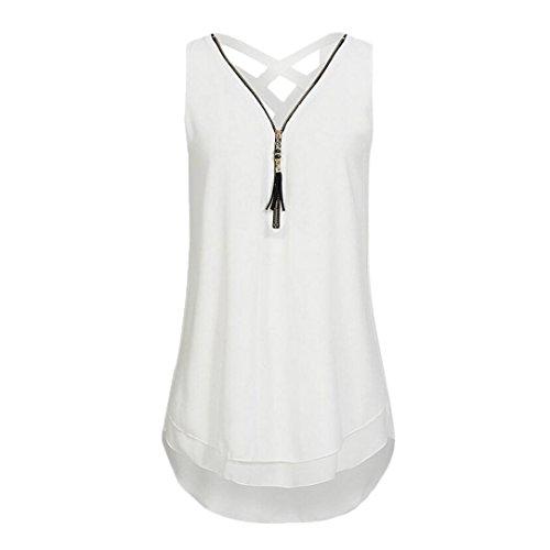 ESAILQ Mode Damen lose Kreuz zurück Saum gelegt Reißverschluss V-Ausschnitt ärmellose Weste (Weiß, M) -