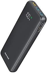 شاحن متنقل 23800 ميللي أمبير USB C 18 وات مزود بشاشة عرض LED مع 2 مدخل و4 مخرج متوافق مع الهاتف الخلوي والأجهز