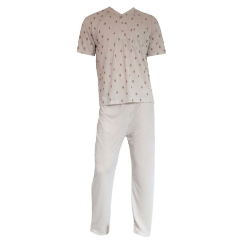 Herren Schlafanzug Pyjama Zweiteiler Shirt kurz Hose lang V-Ausschnitt 6 Farben Beige