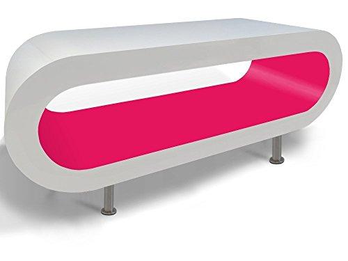 Zespoke Design Retro Blanc Rose Table Basse Cerceau TV/Meuble en Différentes Tailles