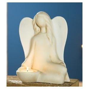 Gilde Keramik Engel 'Lucina' creme-weiss sitzend Teelichthalter unten 30878