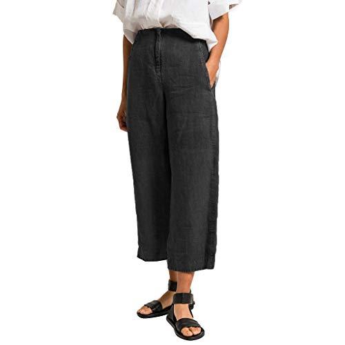 Knöchellange Hosen Elastische Taille Einfarbig Hohe Taille Lange Hosen Gerade Lockere Hosen ()