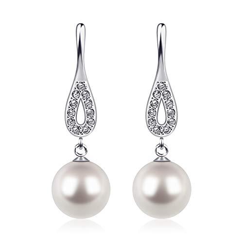 D.Perlla 0hrringe Silber Perlen Damen 925 Silber 8mm CZ Diamant Jahrgang Perle Baumeln Ohrringe für Damen/mädchen