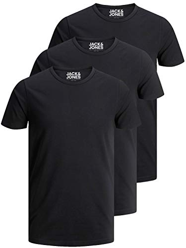 Jack and Jones Herren T-Shirt Basic Rundhals 3er Pack einfarbig Slim Fit in weiß schwarz blau grau (XL, 3er Pack O schwarz) -