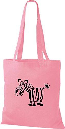 Shirtstown Pochette en tissu Animaux Zèbre rosa