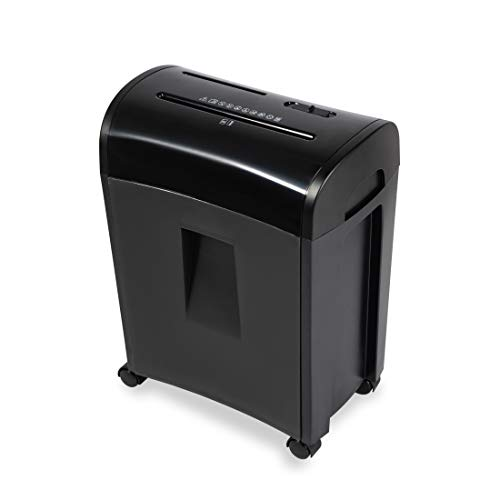 Zoomyo Aktenvernichter mit Auffangbehälter (Papier-Shredder bis zu 10 Blatt DIN A4, Papiervernichter, Schredder für CDs, Aktenvernichter für Büro, Preis-/Leistungssieger, 300W) ZS-10E, schwarz