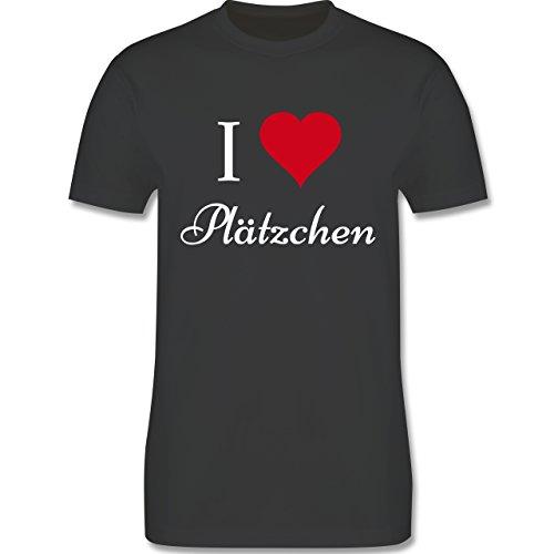 Weihnachten - Ich liebe Plätzchen - Herz - Love - Cookies - Backen - L190 - Premium Männer Herren T-Shirt mit Rundhalsausschnitt Dunkelgrau