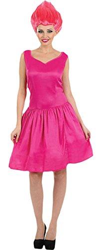 Fancy Ole - Damen Frauen Mini Kleid Pixie mit Perücke Karneval Kostüm, Pink, Größe (Böse Kostüme Pixie)