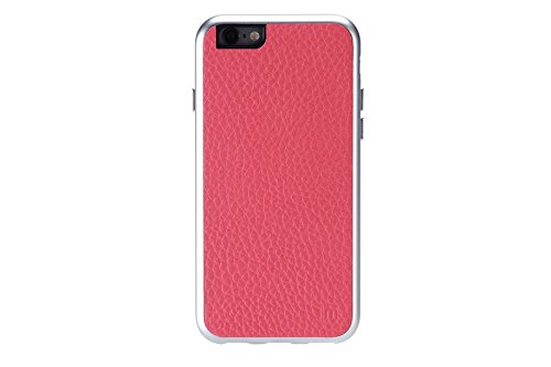 Just Mobile AluFrame Aluminium Shield Leder Hülle für Apple iPhone 6 grau pink