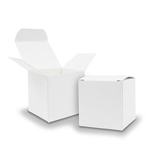 Itenga - 25 scatoline di cartone grezzo bianco 6,5x 6,5cm, per bomboniere, matrimoni, calendario dell'avvento, battesimi, compleanni comunioni o regali vari