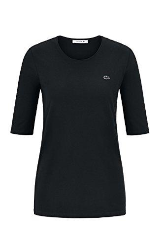 Lacoste TF8065 Klassisches Damen Basic T-Shirt, Rundhals, 3/4 Arm, Kurzarm, Regular Fit, für Freizeit und Sport, 100% Baumwolle Schwarz (Black 031), EU 40 (Lacoste Damen Baumwoll-hemden)