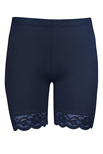 Oops Outlet Damen Dehnbar Spitzenrand Trikot Sport Gymming Fahrrad Hotpants Strumpfhose Shorts - Marine, 48/50