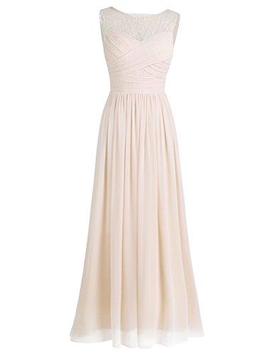 iEFiEL Damen Kleid Festliche Kleider Elegant Abendkleid Hochzeit Cocktailkleid Chiffon Langes Brautjungfernkleid 34-46