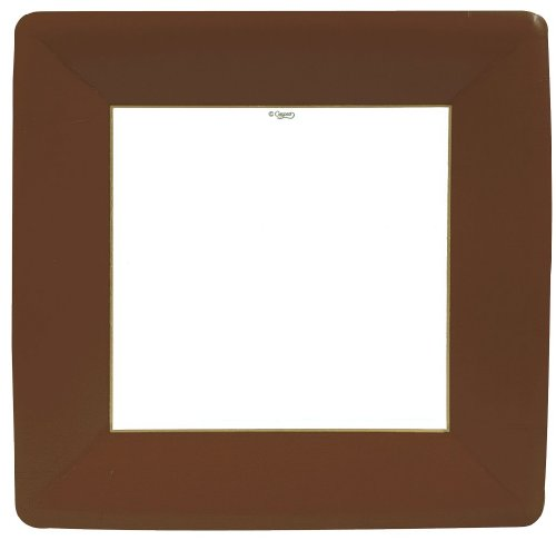 Casapri 8-Pack Square Paper Dinner Plates, Brown Grosgrain Border Green Square Dinner Plate