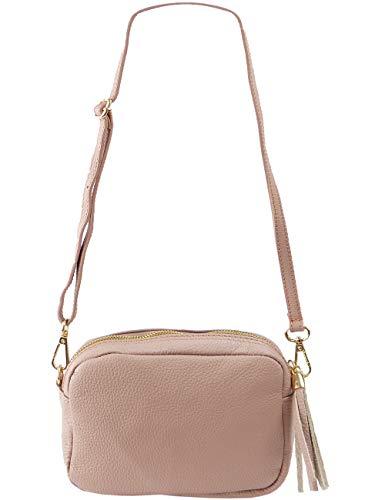 Freyday Echtleder Umhängetasche Clutch kleine Tasche Abendtasche 20x15cm (Altrosa) (Handtasche Satin Mädchen)