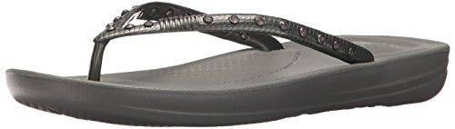 Fitflop Women's Iqushion Ergonomic Flip Flops-Crystal Slide Sandal, Silver