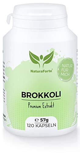 NaturaForte Brokkoli Extrakt 120 Kapseln - Hochdosiert Broccoli-Sprossen Extract, 73mg bioaktives Sulforaphan pro Tagesdosis, Vegane Kapseln, Abgefüllt und hergestellt in Deutschland -