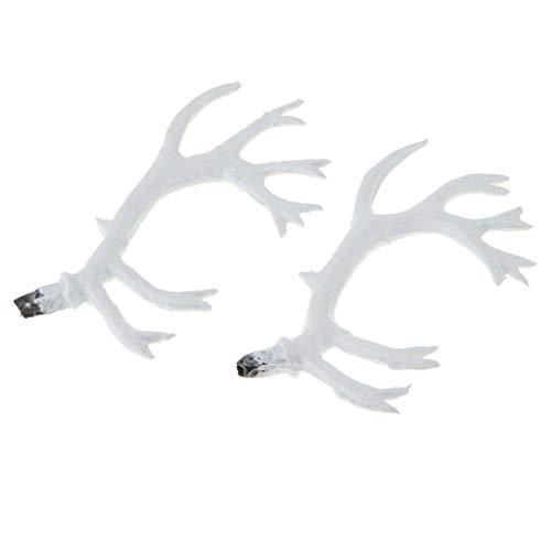 Homyl 1 Paar Künstliche Hirschhorn Geweih Kostüm Zubehör Für DIY Haar Stirnband Handwerk - - Weißes Geweih Kostüm