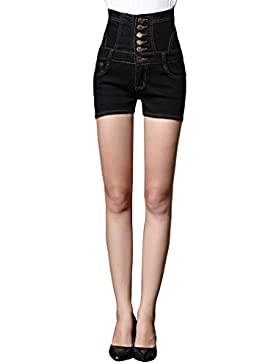 Sentao Donne Taglia Grossa Jeans Vita Alta Hotpants Single-Breasted Denim Pantaloni Corti