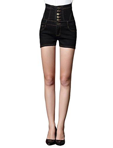 Sentao donne taglia grossa jeans vita alta hotpants single-breasted denim pantaloni corti nero m