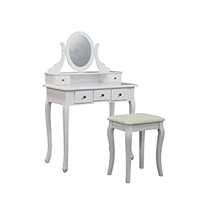 Elegant White Dressing Table, Oval Mirror & Stool Set (5 Drawer) Bedroom Dresser Makeup Desk Vanity Table ...