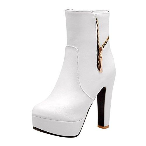 Mee Shoes Damen Reißverschluss runde Plateau runde Stiefel (35, Schwarz)