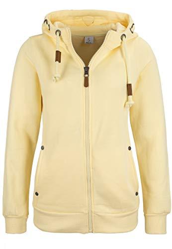 Sublevel Damen Sweat-Jacke mit Kapuze und Badges - tailliert Yellow M