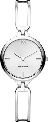 Danish Design Women's Quartz Watch with White Dial Analogue Display and Silver Stainless Steel Bangle DZ120526