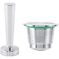 Ensemble Outil de Café pour Nespresso Machine à Café Réutilisable Capsule De Café Rechargeable + Tamper à café