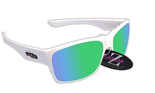 RayZor Professional leichte UV400White Sports Wrap Sailing Sonnenbrille, mit einem grünen Iridium verspiegelt Blendfreie Objektiv